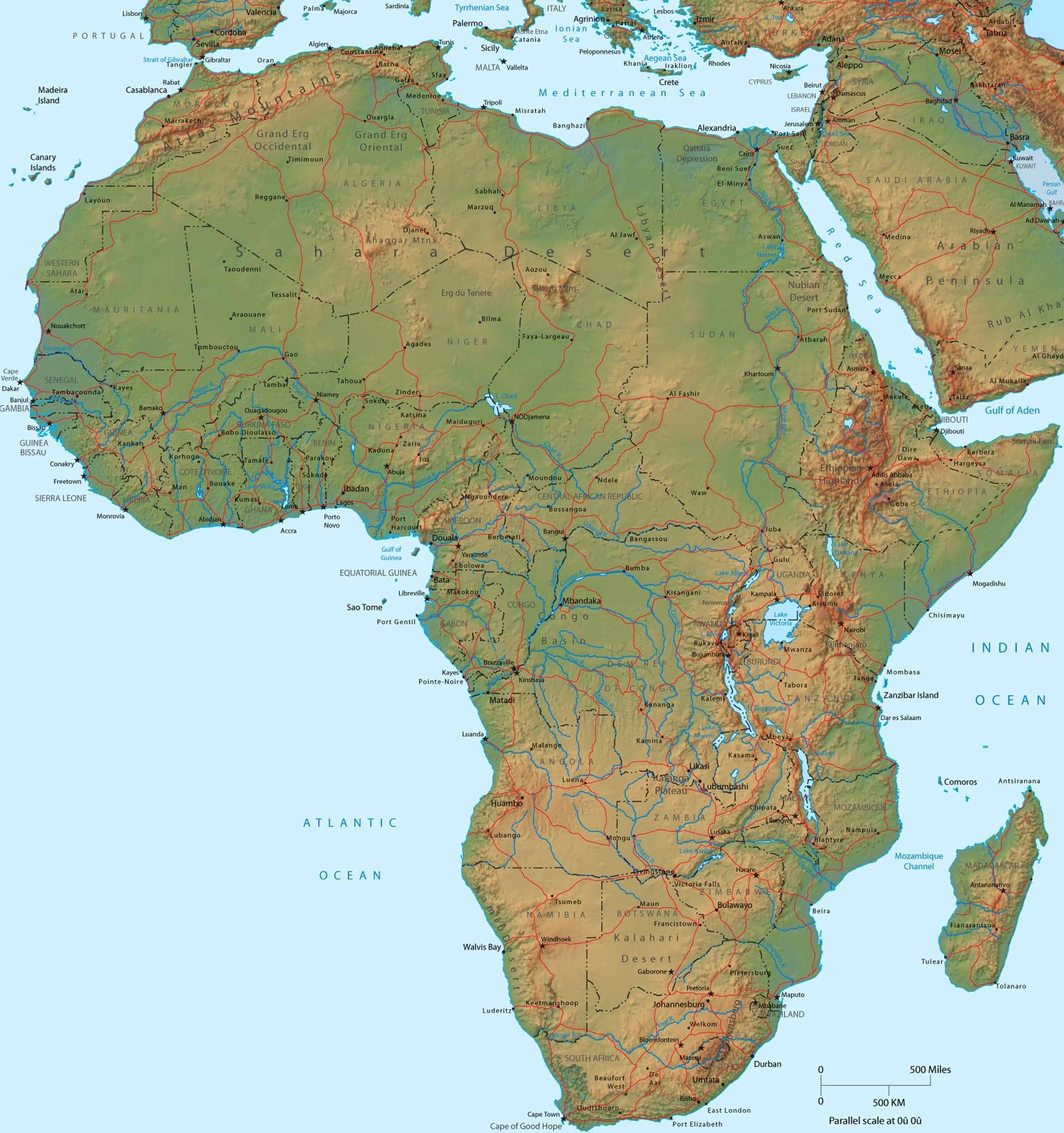 Afrika Nema Karta Reke.Opste Karakteristike Afrike