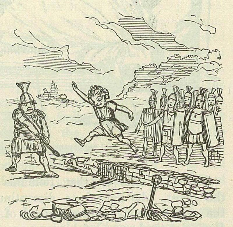 800px-Comic_History_of_Rome_p_007_Remus_jumping_over_the_Walls