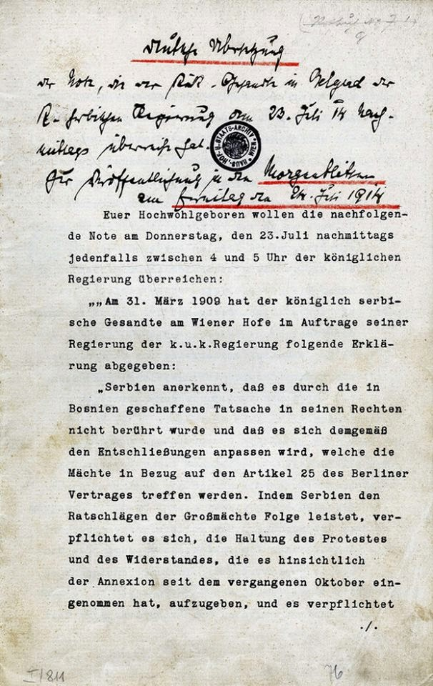 Austrian Ultimatum to Serbia July 23, 1914 Page 1